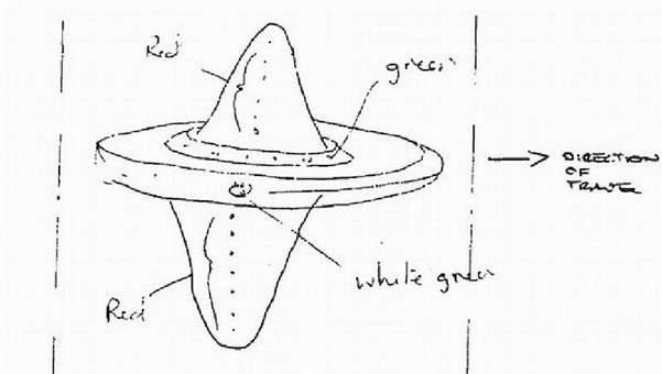 Nákres UFO, které bylo pozorováno Yorkshiru v březnu 1988.
