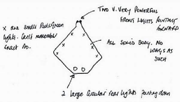 Nákres UFO, které bylo pozorováno nad Velkou Británií