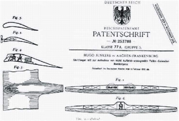 Patent Junkers jednoho z létajících strojů z roku 1910