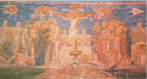 9a) Freska Ukrižovanie z roku 1350, Kosovo
