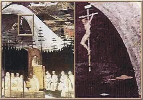 10) Na zväčšenine vpravo je v blízkosti Ježiša vidieť červený tanier v tvare UFO