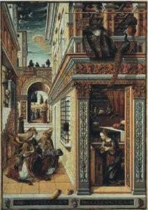 13a) Na hlavu Márie žiari z disku kužeľ svetla (1486)