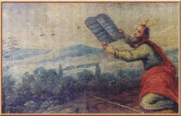 14) Objekty na nebi prihliadajú ako Mojžiš prijíma hlinené tabuľky