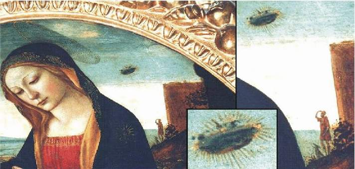16b) Zväčšenina, muž a pes hľadia na UFO