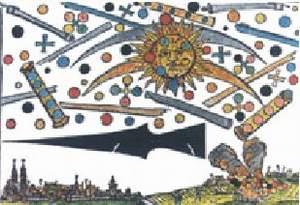 22) Pozorovanie nebeskej bitvy v Norimbergu 1561