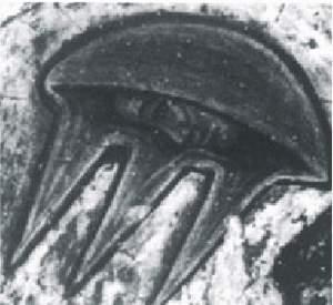 26) Dva lietajúce taniere po stranách Krista na freske zo 17. stor.