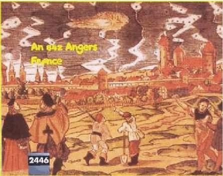 6) Pozorovaniie UFO vo francúzskom Angers v roku 842
