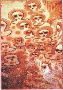 12b) Aboriginálske bytosti Wandjina, Kimberley, Australia