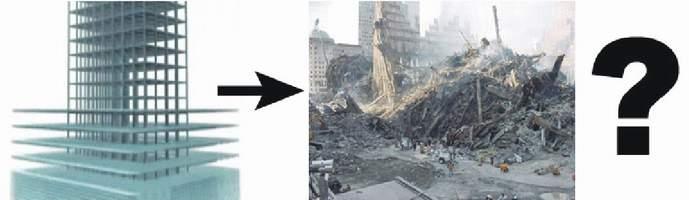 Vľavo palacinkový kolaps v podaní televízie PBS, vpravo realita. Zhoda? Kde sa podeli jadrá budov? Kde sú poschodia naskladané na sebe?